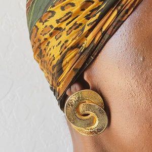 Vtg 80s Joined Circles Earrings